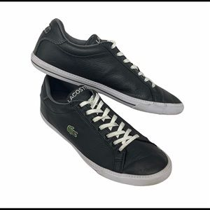 Lacoste Black Graduate Leather and Synthetic Sneakers Oxford Tennis Shoes SZ 10